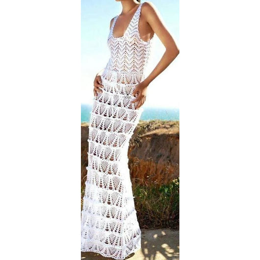 Wedding handmade crochet long bridal dress - Made to order - Replica - AsDidy fashion