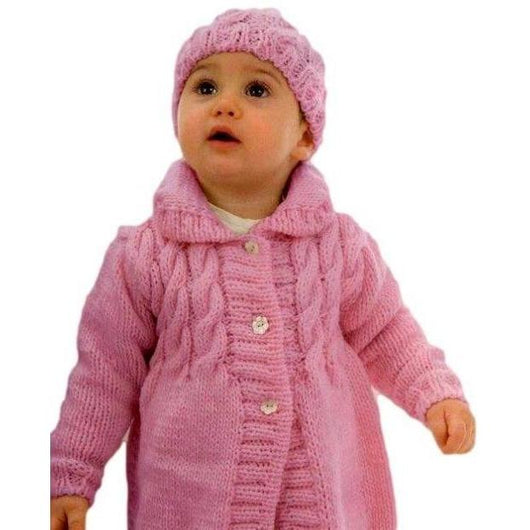 Knitted baby girl coat and hat, pink hat, winter baby coat, knitted hat, girls coat, winter jacket, handmade, custom made - AsDidy fashion