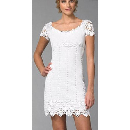 Elegant crochet women summer dress, party dress in white or any color you like - AsDidy fashion
