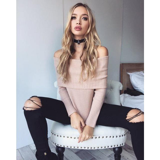 Off Shoulder Knitted Sweater - AsDidy fashion