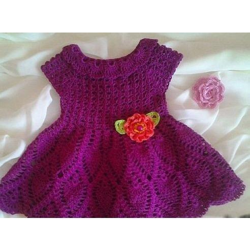 Purple Baby Crochet Dress Free Shipping Crochet Clothes