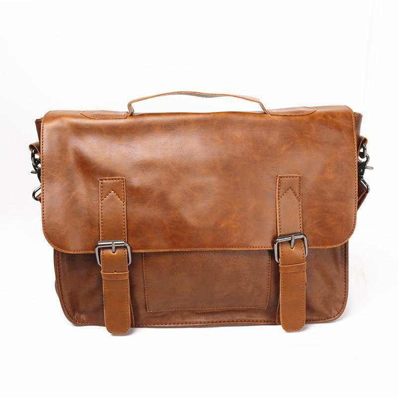 Casual Briefcase Messenger Shoulder Bag 14 inch Computer Laptop Capable - URBAN LEGEND LEATHER