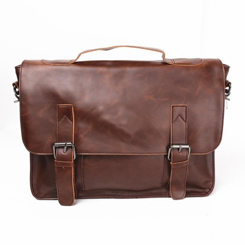 Casual Briefcase Messenger Shoulder Bag 14 Inch Computer Laptop Capable Mens Leather Bags