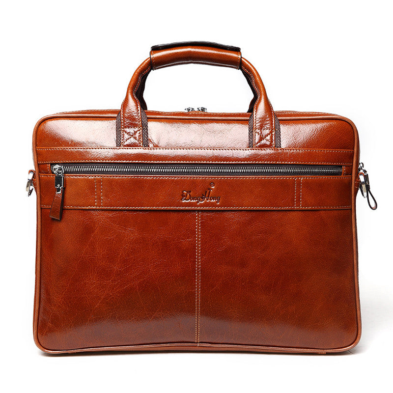 "Vintage Leather Business Brief and Laptop Carrier 14"" - URBAN LEGEND LEATHER"