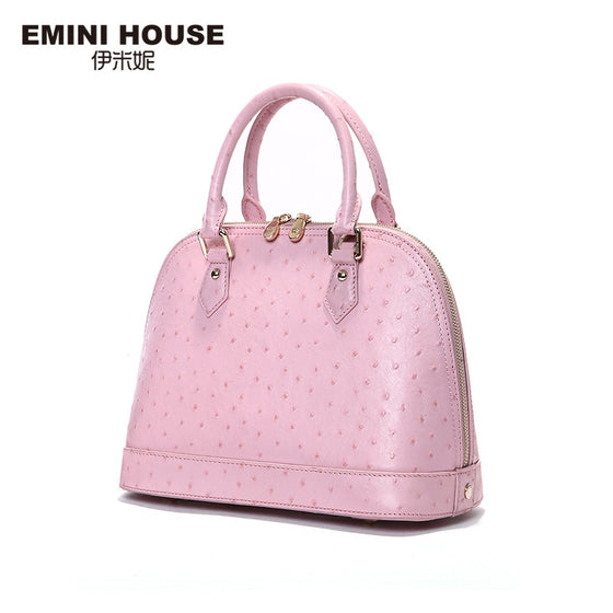 Womens Ostrich Pattern Shell Bag Genuine Luxury Leather