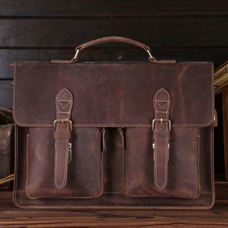 Mens Retro Leather Multi-Pocket 15 Inch Cowhide Briefcases
