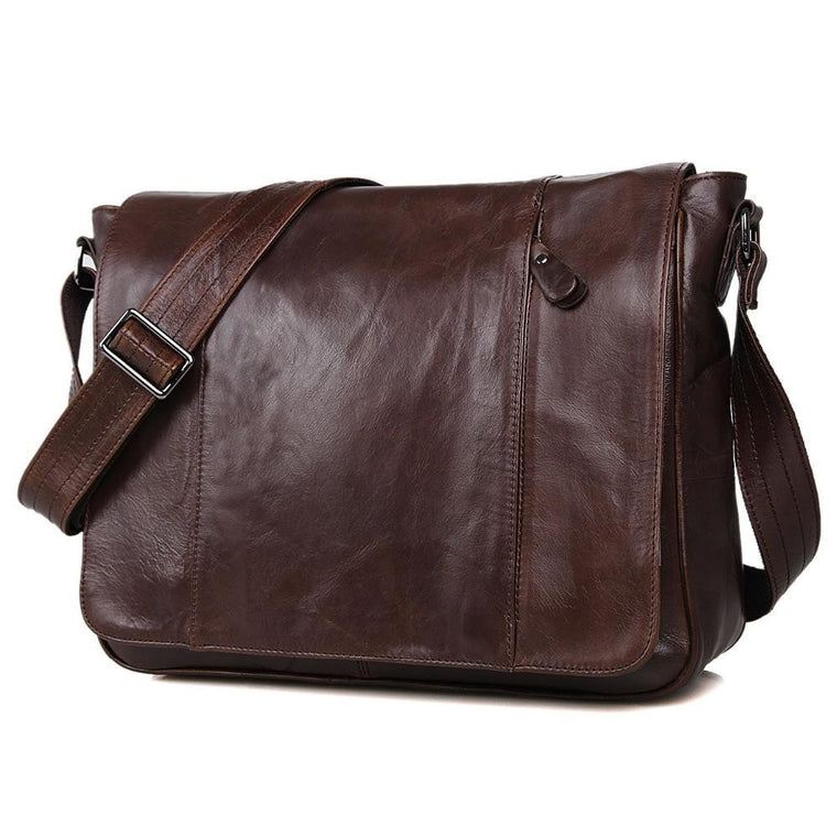 Men's Tanned Leather Messenger Bag - URBAN LEGEND LEATHER
