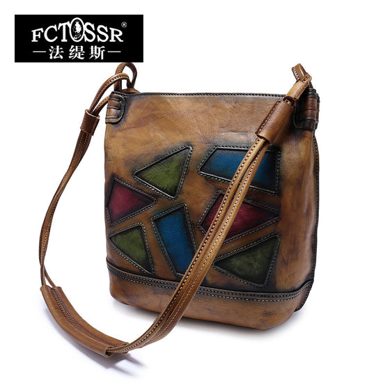 Womens Vintage Geometric Style Leather Shoulder Bag
