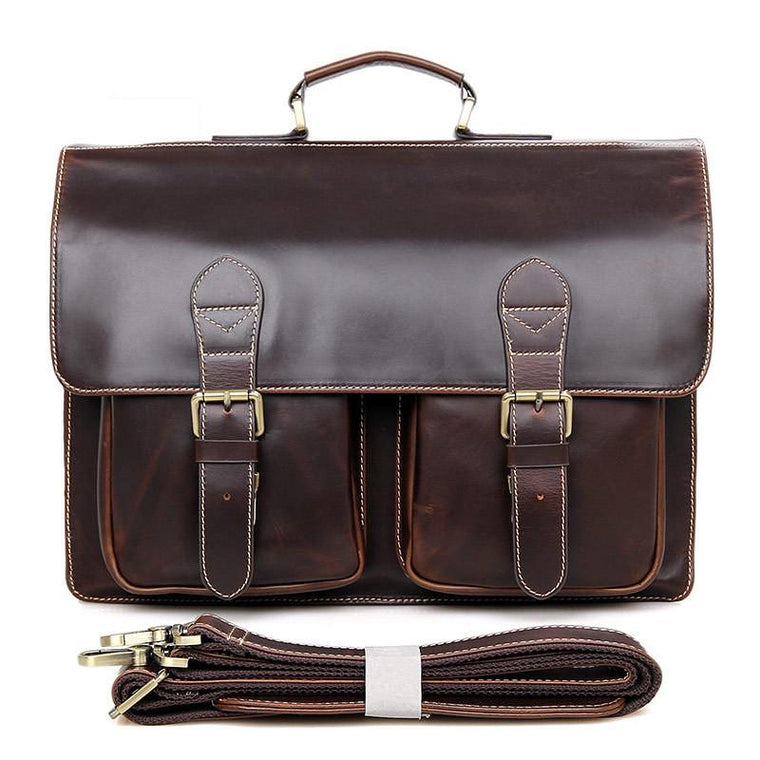 Mens Leather Messenger Briecase Removable Strap