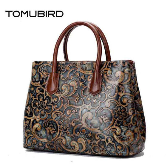 Womens Wind Embossed Leather Bag