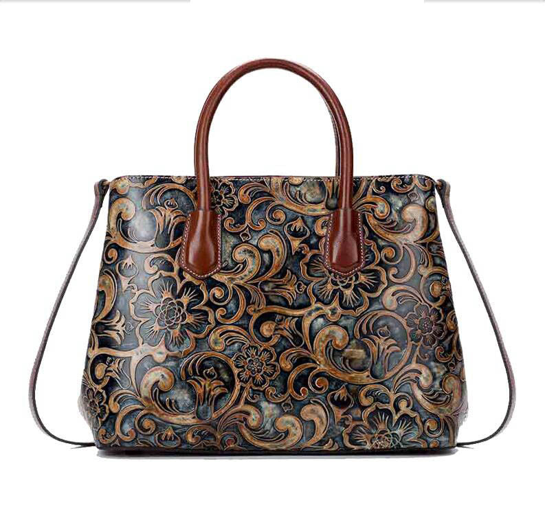 Womens Ladies Wind Embossed Leather Tote Bag - URBAN LEGEND LEATHER