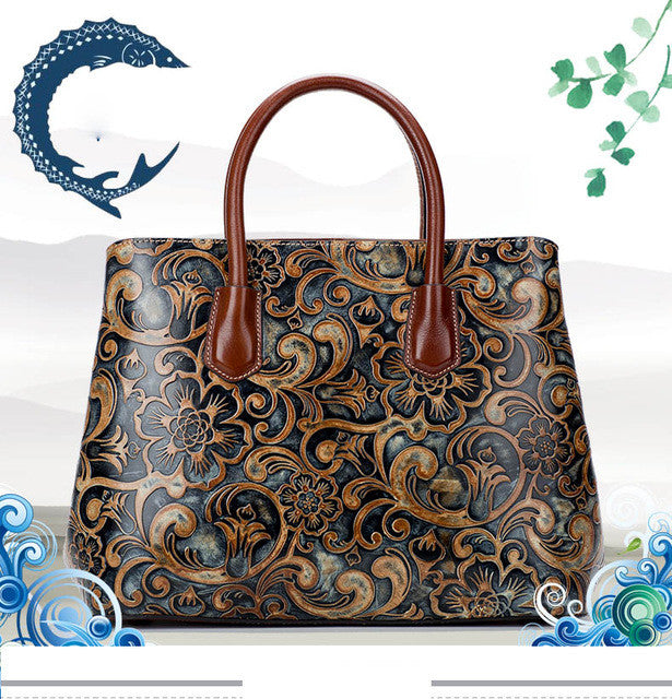 Womens Wind Embossed Leather Bag cd2354b68a20c
