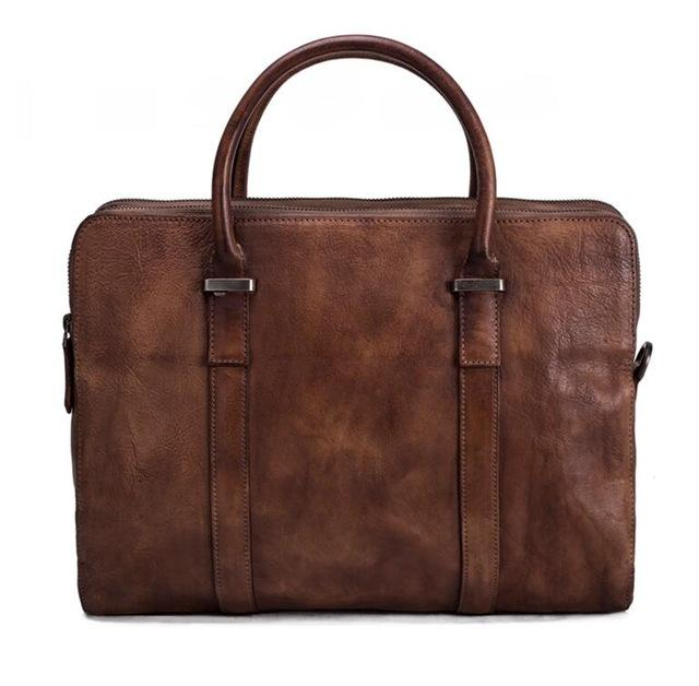 Vintage Vegetable Tanned Leather Briefcase/Messenger Bag - URBAN LEGEND LEATHER