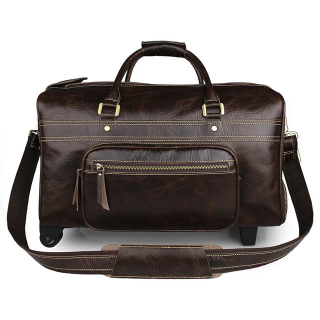Leather Drawbar Wheeled or Carry Travel/Weekend/OvernightDuffel Bag - URBAN LEGEND LEATHER