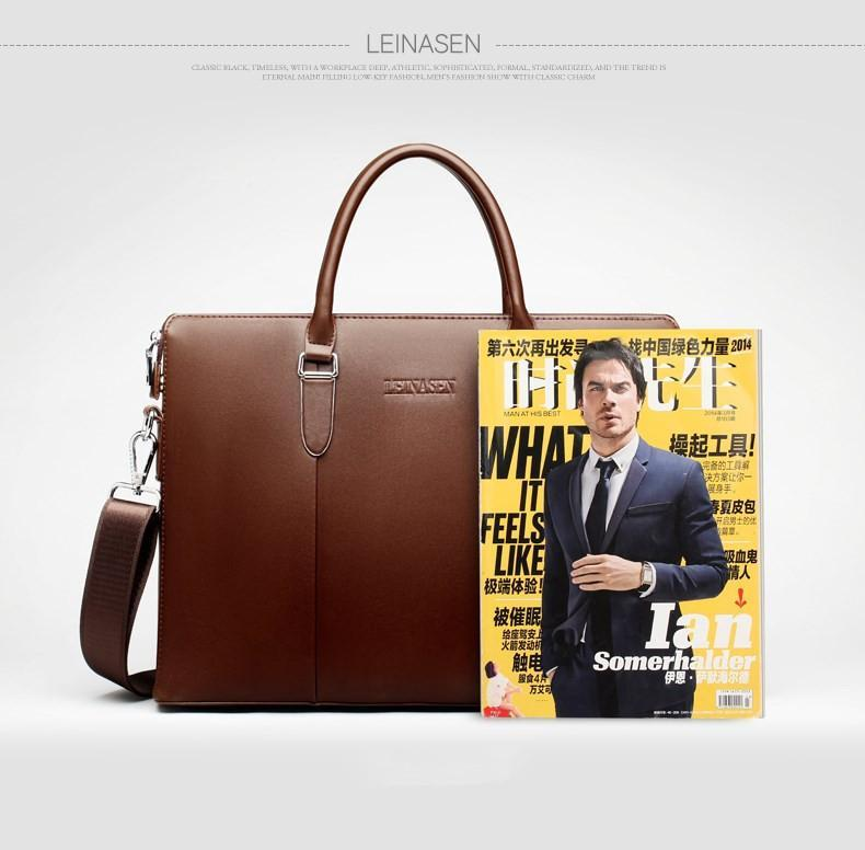 "17"" Mens Leather Brief/Document Case"