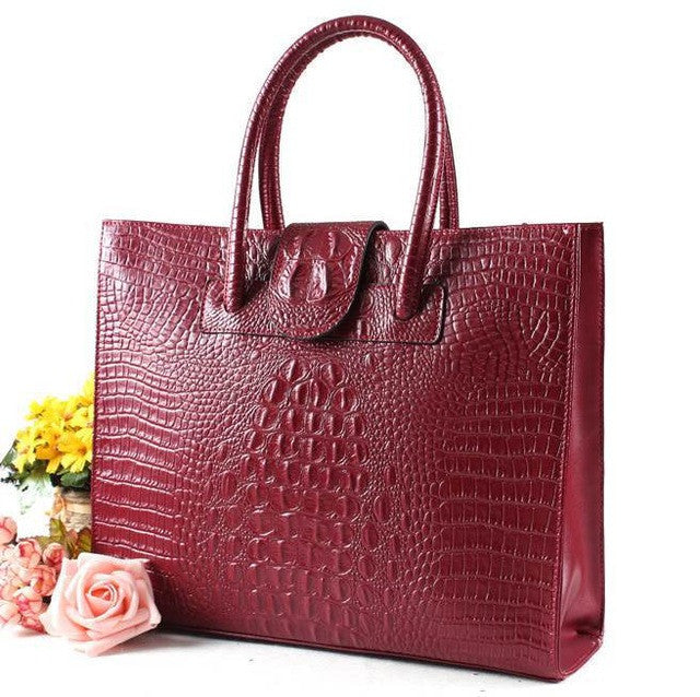 Womens Leather Tote Crocodile Pattern - URBAN LEGEND LEATHER