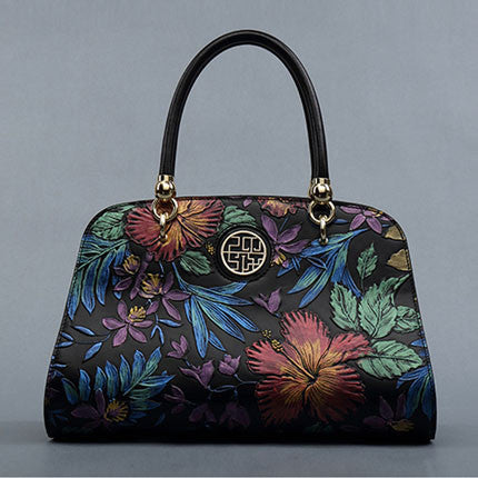 Women Flower Embossed Handbag - URBAN LEGEND LEATHER