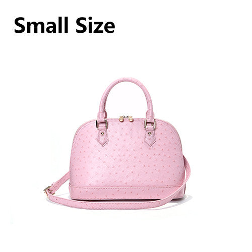 Womens Ostrich Pattern Shell Bag Genuine Luxury Leather - URBAN LEGEND LEATHER