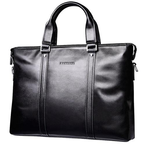 Men's Leather Brief With Carry Strap