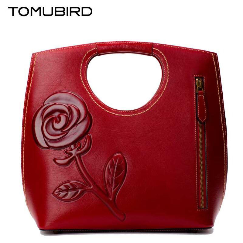 Womens Leather Flower Embossed Bag