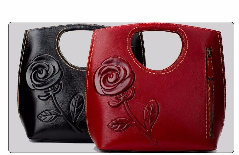 Womens Leather Flower Embossed Bag - URBAN LEGEND LEATHER