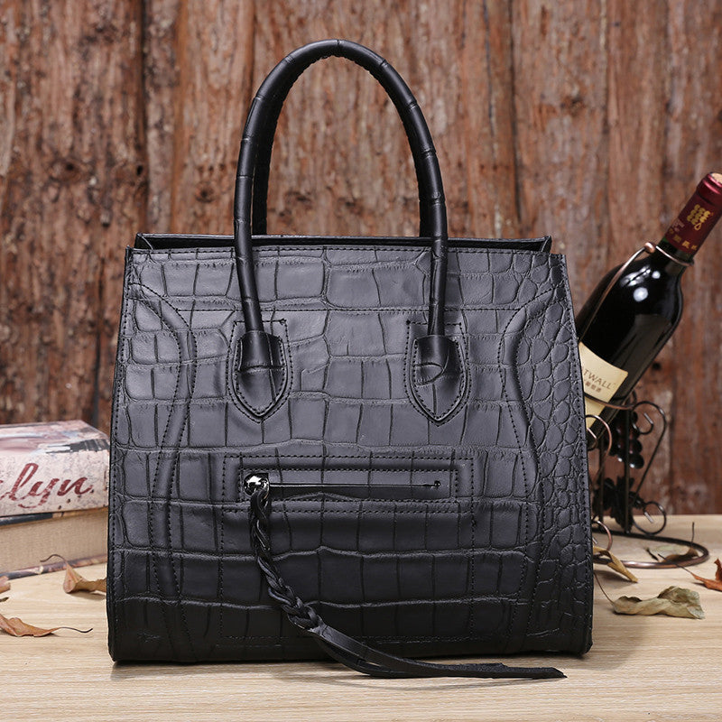 Womens Crocodile Style Leather Ears Bag - URBAN LEGEND LEATHER