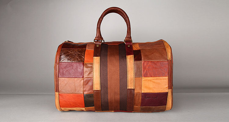 Mens High Quality Patchwork Leather Overnight Duffel Bag - URBAN LEGEND LEATHER