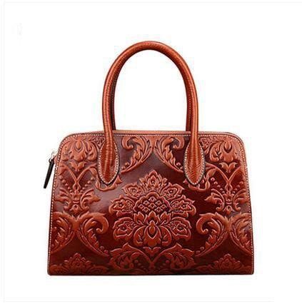 Ladies Embossed Chinese Design Leather Tote bag - URBAN LEGEND LEATHER