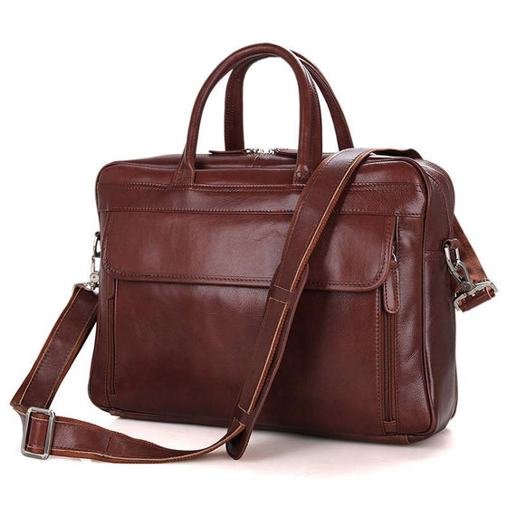 Mens Leather Laptop Briefcases with Double Handle Brief