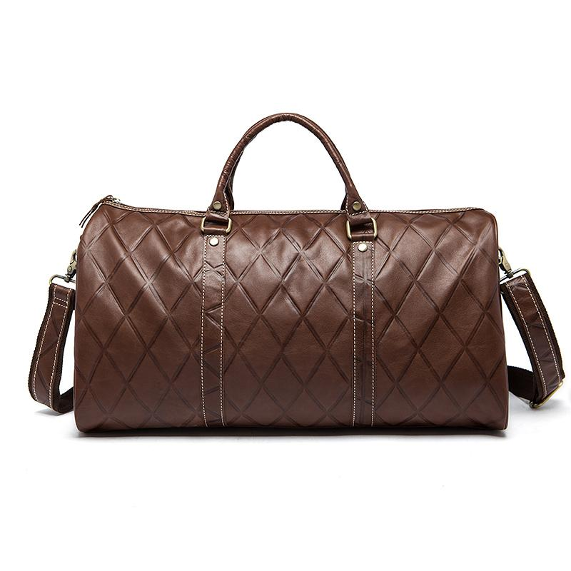 Diamond Patterned Leather Overnight/Weekend/Barrel Bag With Adjustable Strap - URBAN LEGEND LEATHER