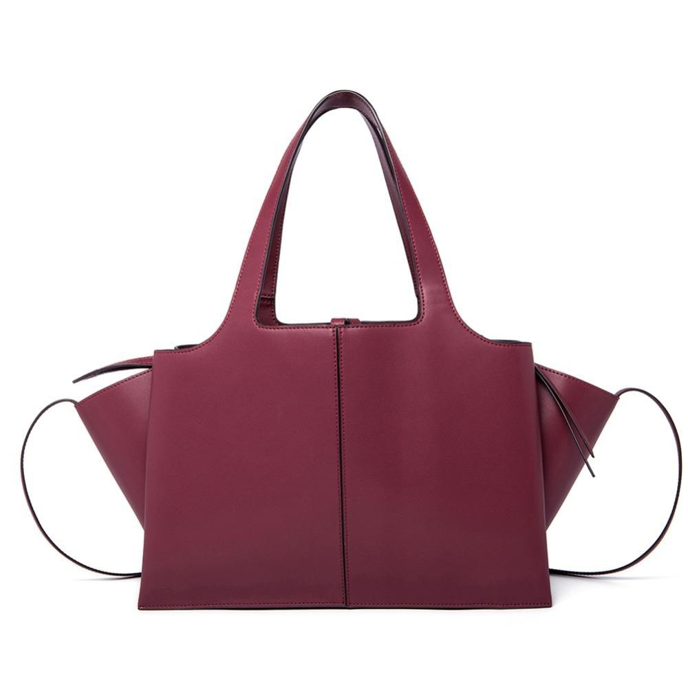 Women's Leather Tri-Fold Large Tote Bag