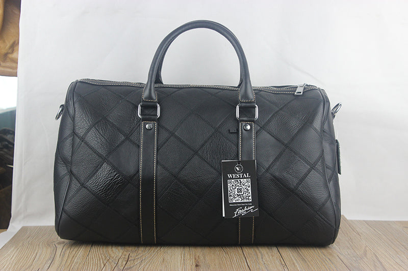 Leather Diamond Patterened Multifunction/Travel/Overnight/Weekend Bag - URBAN LEGEND LEATHER