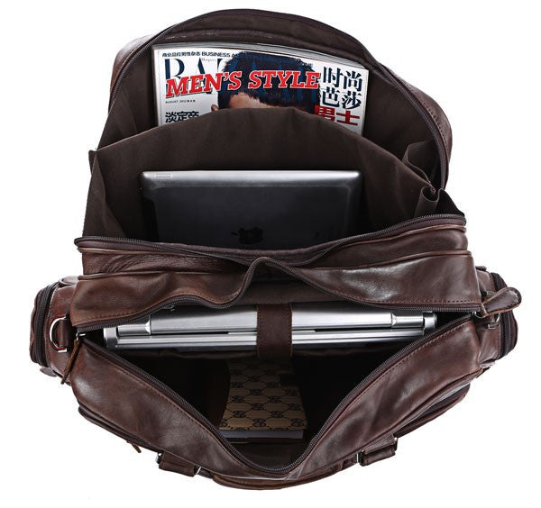 Mens/Womens Large Capacity Vintage Leather Travel Bags 15.6'' Laptop Size - URBAN LEGEND LEATHER