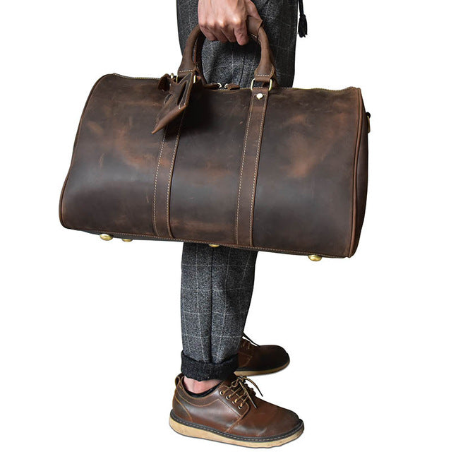 Vintage Leather Travel/Weekend/Overnight/Duffle Bag - URBAN LEGEND LEATHER
