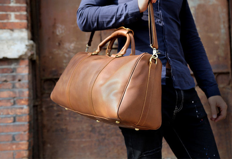 Leather Business Travel Bag With Shoulder Strap - URBAN LEGEND LEATHER