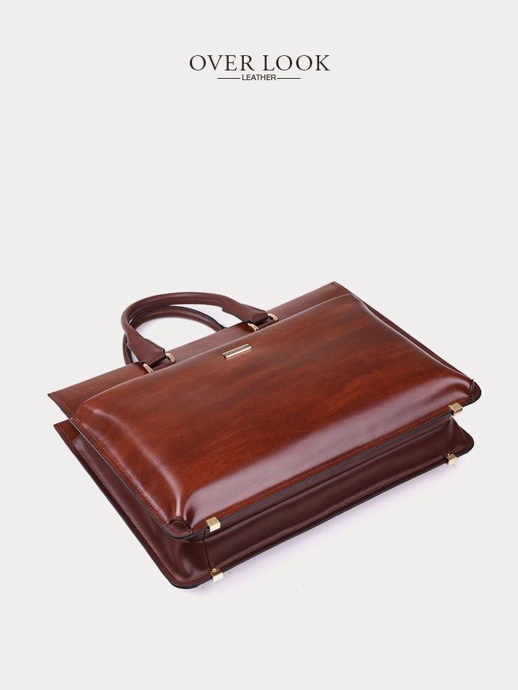"Mens Vintage Leather 15"" Laptop Formal Brief Bag"