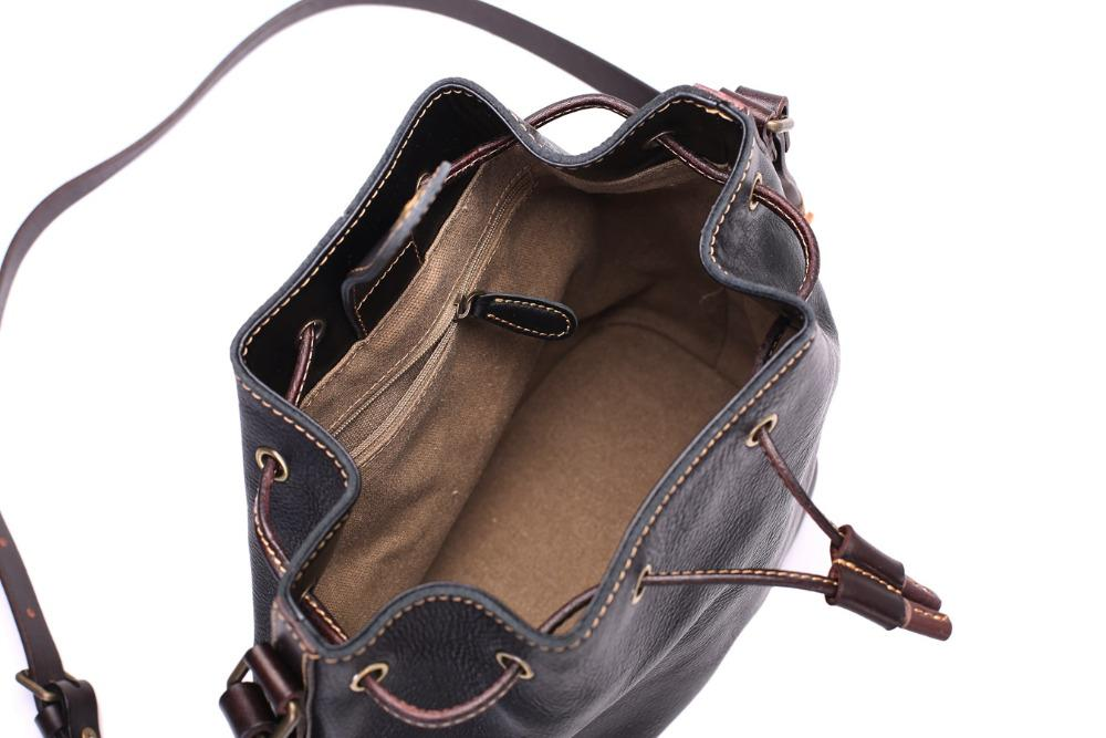 Girls Bucket Leather Sling Bags With Drawstring - URBAN LEGEND LEATHER