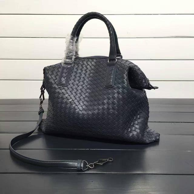 Womens Large Woven Style Tote Leather Bag With Shoulder Strap