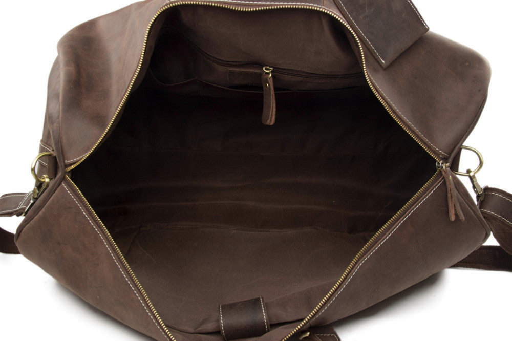 Vintage Style Leather Duffle Bag Weekend Bag - URBAN LEGEND LEATHER