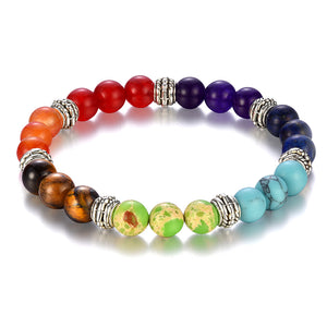 Club Dresses | Club Outfits | Party Dresses Natural Stone Beads 7 Chakra Bracelet for Women Men, 7 Chakra Bracelet by Clubbing Love ™️ - Clubbing Love