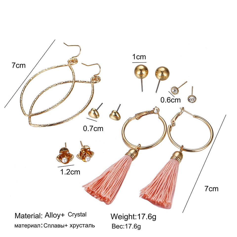 Club Dresses | Club Outfits | Party Dresses Under $9.99, 6 Pairs Colorful Tassel Hoop Fringe Bohemian Tiered Tassel Drop Earrings Stud Earrings Gift Set for Girls Women - Clubbing Love