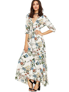Club Dresses | Club Outfits | Party Dresses Dress, Women's Button up Split Floral Print Flowy Party Maxi Dress - Clubbing Love