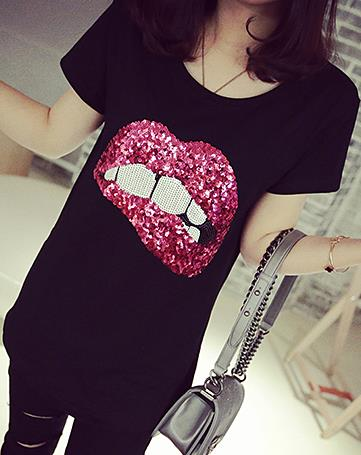 Women's Sexy Red Lips T-Shirt Biting Lip Shirt  Embroidered Sequins