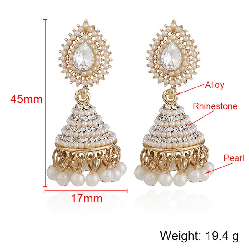 Club Dresses | Club Outfits | Party Dresses Jewelry, Indian Traditional Imitation Pearl Indian Jhumka Jhumki Drop Earrings - Clubbing Love