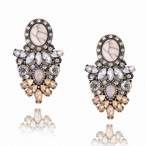 Club Dresses | Club Outfits | Party Dresses Under $9.99, Big Luxury Colorful Flower Drop Earring Pendant Crystal Gem Statement Earrings - Clubbing Love