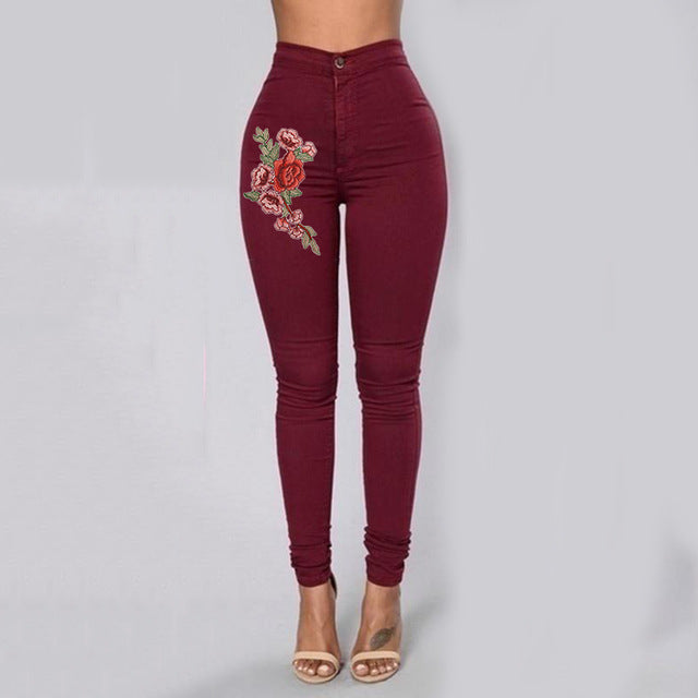 Club Dresses | Club Outfits | Party Dresses Jeans, Women's Embroidered Flower High Waist Skinny Ankle Skinny Jeans Denim Pants - Clubbing Love