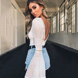 Club Dresses | Club Outfits | Party Dresses bodysuit, Women Lace Bodysuit Sexy Deep V-Neck Flare Sleeve Playsuit Romper Ladies Backless Long Sleeve Hollow Out Body Suit Overalls - Clubbing Love