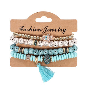 Club Dresses | Club Outfits | Party Dresses Under $9.99, Vintage Ethnic Multilayer Big Beads Bracelets Boho Statement Flower Bracelet Bangles for Women - Clubbing Love