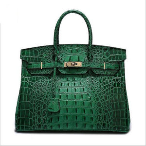 Women's Patent Leather Crocodile Embossed Top Handle Handbags 35CM