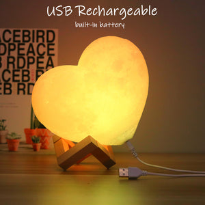 CLUBBING LOVE™️ CUSTOMIZED 3D HEART SHAPE MOON LAMP
